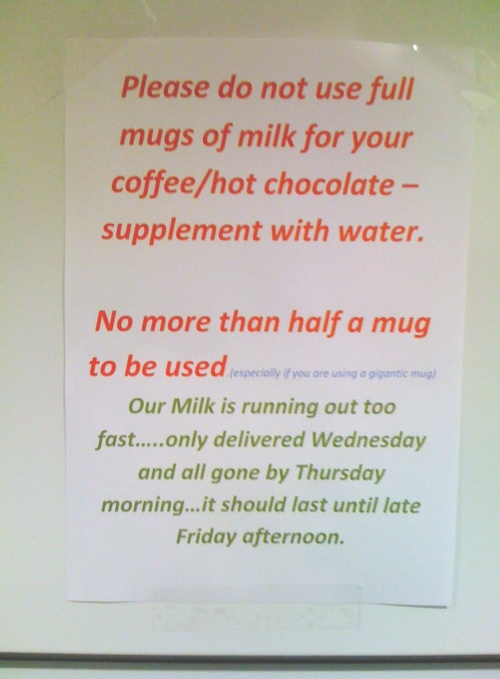 kitchen notice about using too much milk