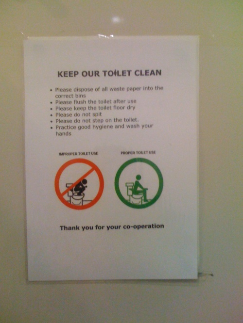 Bathroom notice about proper toilet use