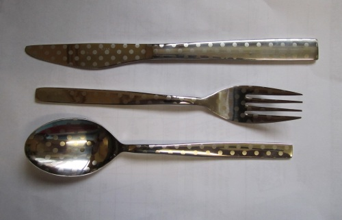 polka dot spoon, knife, fork
