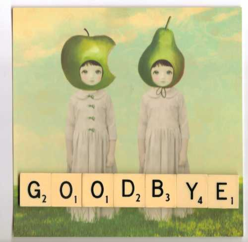 Goodbye card with scrabble tiles