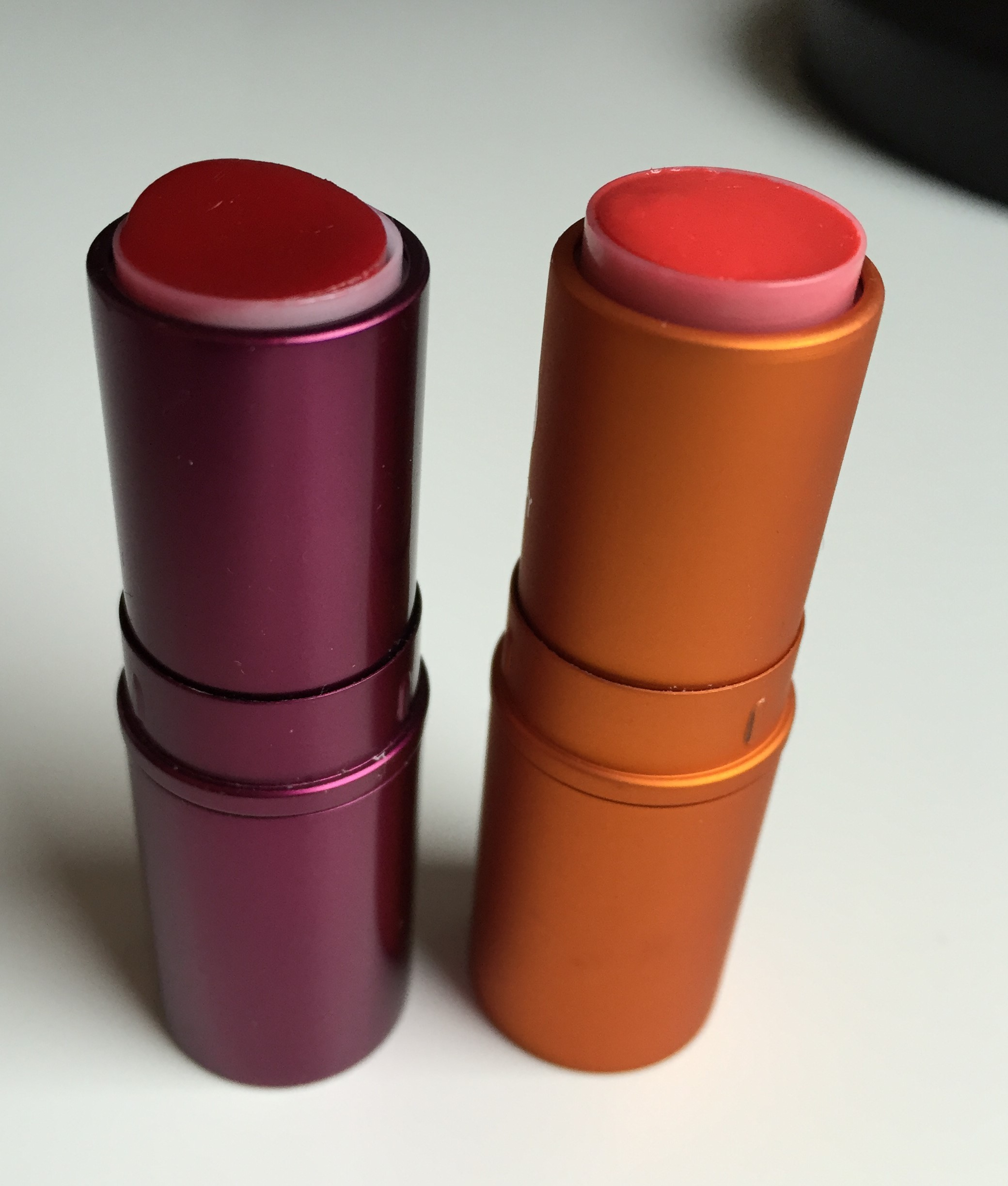 Pair of finished lipsticks