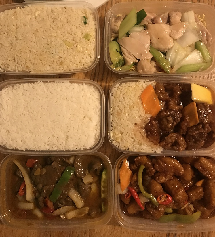 Boxes of Chinese takeaway food